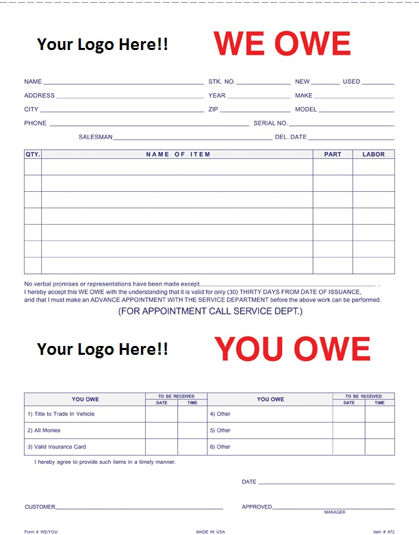 custom 3 part we owe you owe form form 872